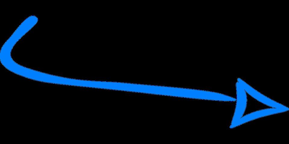 Pfeil blau bogen rechts